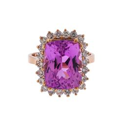 14KT Rose Gold 11.42ct Kunzite and Diamond Ring