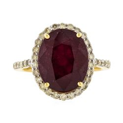 14KT Yellow Gold 9.74ct Ruby and Diamond Ring
