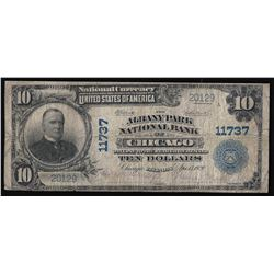 1902 $10 The Albany Park National Bank of Chicago National Currency Note