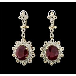 14KT Yellow Gold 15.16ctw Ruby and Diamond Earrings