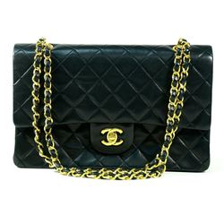 Authentic Chanel Double Flap Black Lambskin Gold Hardware Jumbo