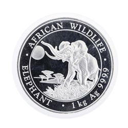 2016 African Wildlife Elephant 2 Shillings 1 Kilo Silver Coin