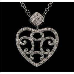 18KT White Gold 1.00ctw Diamond Pendant with Chain
