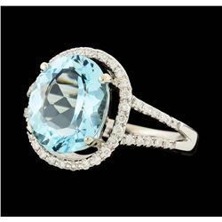 14KT White Gold 5.00ctw Aquamarine and Diamond Ring