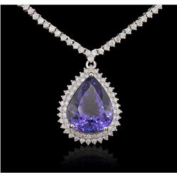 14KT White Gold 11.55ct GIA Certified Tanzanite and Diamond Necklace