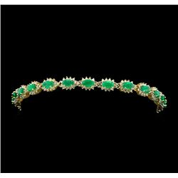 14KT Yellow Gold 4.81cte Emerald and Diamond Bracelet