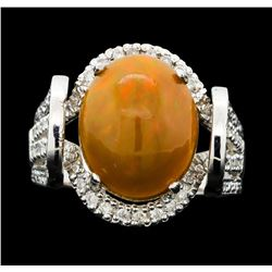 14KT White Gold 4.19ct Opal and Diamond Ring