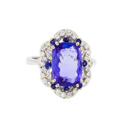 14KT White Gold 5.49ct Tanzanite, Sapphire, and Diamond Ring