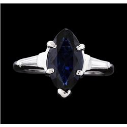 14KT White Gold 2.13ct Blue Sapphire and Diamond Ring