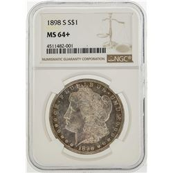 1898-S $1 Morgan Silver Dollar Coin NGC MS64+