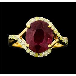 SILVER 3.94ct Ruby and Diamond Ring