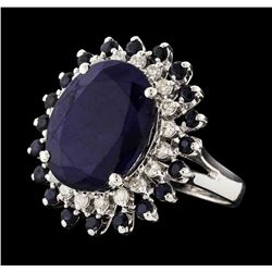 14KT White Gold 12.83ctw Sapphire and Diamond Ring