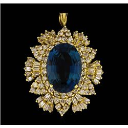 14KT Yellow Gold 12.64ct Blue Topaz and Diamond Pendant