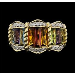 14KT Yellow Gold 8.00ctw Multi Colored Gemstone and Diamond Ring