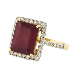 14KT Yellow Gold 5.96ct Ruby and Diamond Ring