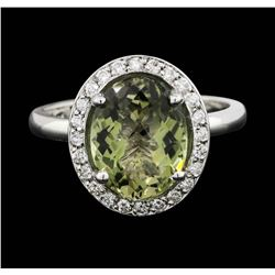 14KT White Gold 3.00ct Green Tourmaline and Diamond Ring
