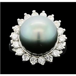 14KT White Gold 12mm Pearl and Diamond Ring