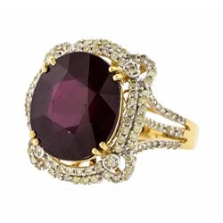 14KT Yellow Gold 13.90ct Ruby and Diamond Ring