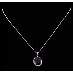 14KT White Gold 13.43ctw Sapphire and Diamond Pendant With Chain