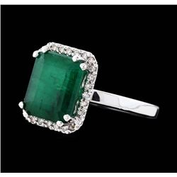 14KT White Gold 3.65ct Emerald and Diamond Ring