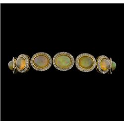 14KT Yellow Gold 17.95ctw Opal and Diamond Bracelet