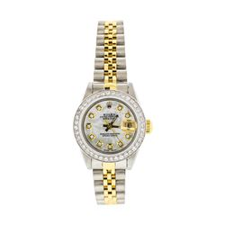 Rolex Ladies Two Tone Diamond Datejust Wristwatch