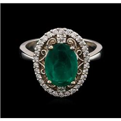14KT White Gold 1.73ct Emerald and Diamond Ring