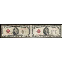 Lot of (2) 1928E $5 Legal Tender Notes