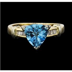 14KT Yellow Gold 2.00ct Blue Topaz and Diamond Ring