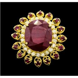 14KT Yellow Gold 15.78ctw Ruby and Diamond Ring