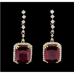 14KT Yellow Gold 13.94ctw Ruby and Diamond Earrings