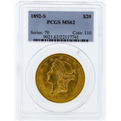 1892-S $20 Liberty Head Double Eagle Gold Coin PCGS MS62