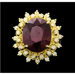 14KT Yellow Gold 11.98ctw Ruby and Diamond Ring