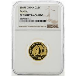 1987P China 25 Yuan Panda Gold Coin NGC PF69 Ultra Cameo