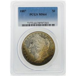 1887 $1 Morgan Silver Dollar PCGS Graded MS64