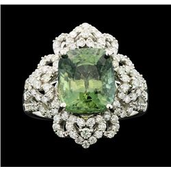 18KT White Gold 6.32ct Green Sapphire and Diamond Ring