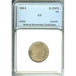 1896-S BARBER SILVER 25 CENTS  NNC G-6