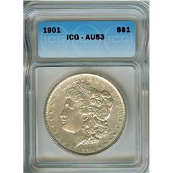 1901 MORGAN SILVER DOLLAR  ICG AU53