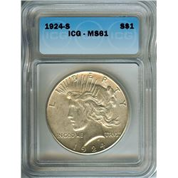 1924-S PEACE SILVER DOLLAR  ICG MS61