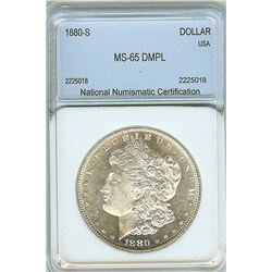 1880-S MORGAN SILVER DOLLAR  NNC MS-65 DMPL