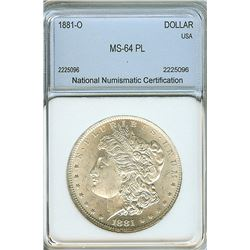 1881-O MORGAN SILVER DOLLAR NNC MS64 PL