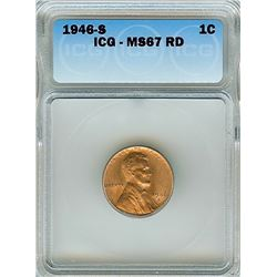 1946-S LINCOLN WHEAT CENT ICG MS-67 RED RARE THIS NICE!