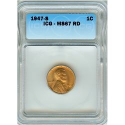 1947-S LINCOLN WHEAT CENT ICG MS-67 RED SCARCE THIS NICE!