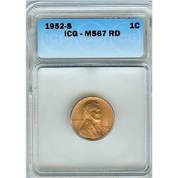 1952-S LINCOLN WHEAT CENT ICG MS-67 RED RARE THIS NICE!