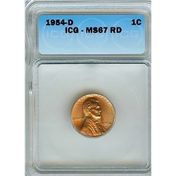 1954-D LINCOLN WHEAT CENT ICG MS-67 RED  RARE THIS NICE!