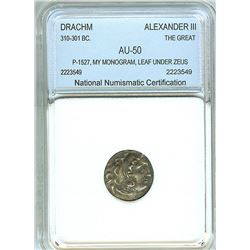 ALEXANDER III, THE GREAT 336-323 BC. SILVER DRACHM, p-1527  FINE STYLE  NNC AU50