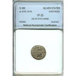 DUROTRIGES ca.50 BC-50 AD SILVER STATER - CELTIC STYLE HORSE - S#366   NNC VF25