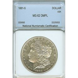1881-S MORGAN SILVER DOLLAR NNC MS-62 DMPL