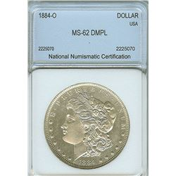 1884-O MORGAN SILVER DOLLAR NNC MS62 DMPL