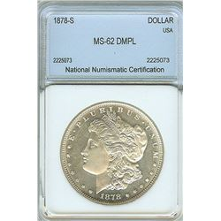 1878- S MORGAN SILVER DOLLAR NNC MS62 DMPL